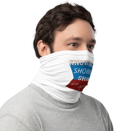 man wearing neck gaiter as face covering with knowing showing sharing the gospel geometric design