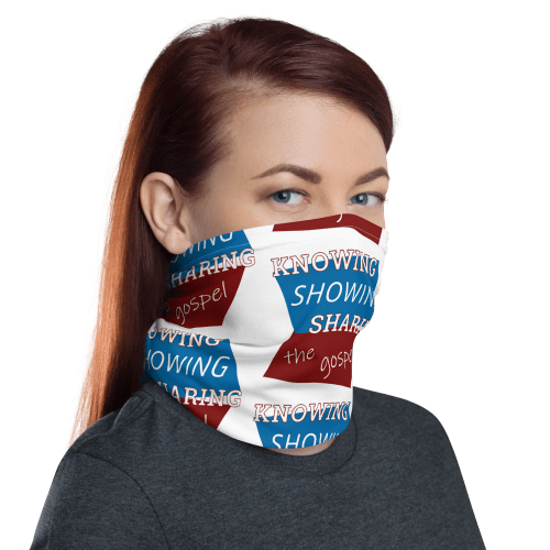 woman wearing neck gaiter as face covering with knowing showing sharing the gospel geometric design