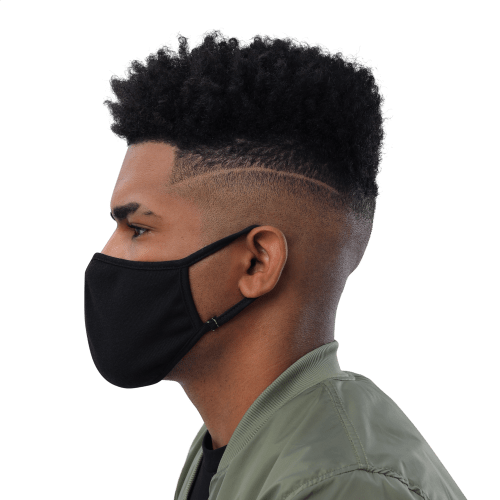 man wearing face mask left side view