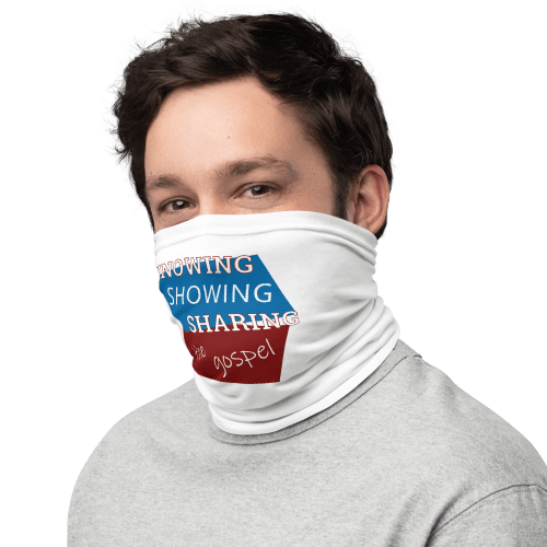 Man wearing neck gaiter as face mask with Knowing Showing Sharing the gospel on blue and red background