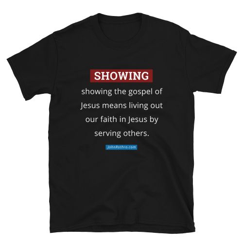 black t-shirt with showing the gospel definition