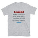 light gray t-shirt with knowing the gospel definition