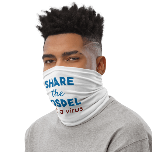 man wearing neck gaiter as face covering with share the gospel not a virus design