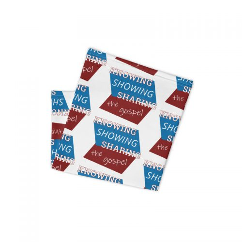 Folded neck gaiter with Knowing Showing Sharing the gospel on blue and red background in a pattern
