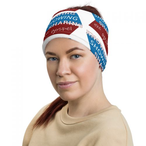 Back of neck gaiter as a head band with Knowing Showing Sharing the gospel on blue and red background in a pattern