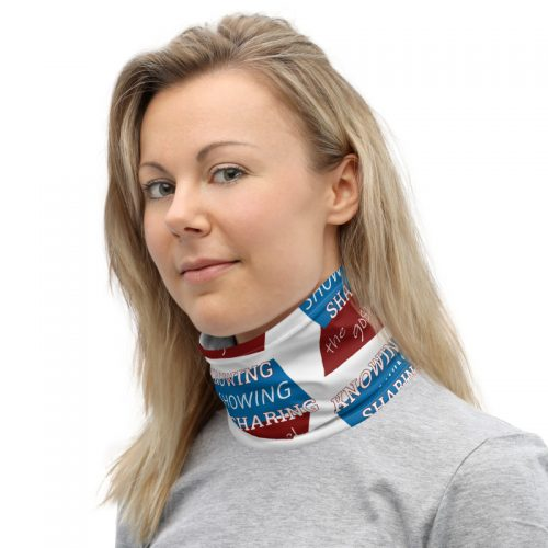 Woman wearing neck gaiter with Knowing Showing Sharing the gospel on blue and red background in a pattern
