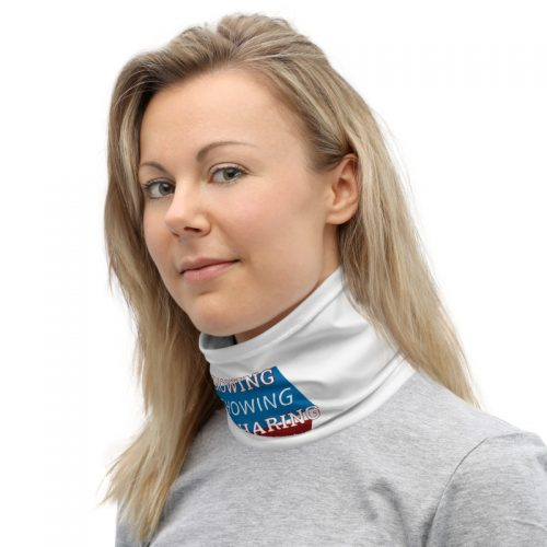 Women wearing neck gaiter with Knowing Showing Sharing the gospel on blue and red background