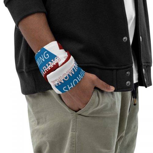 man wearing neck gaiter around wrist with knowing showing sharing the gospel geometric design