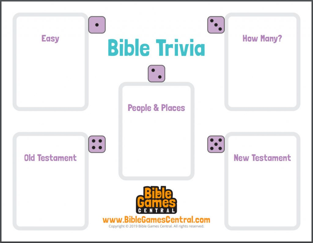Bible trivia game card with categories