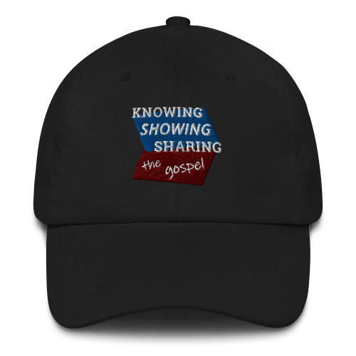 Black baseball cap with Knowing Showing Sharing the gospel on blue and red background
