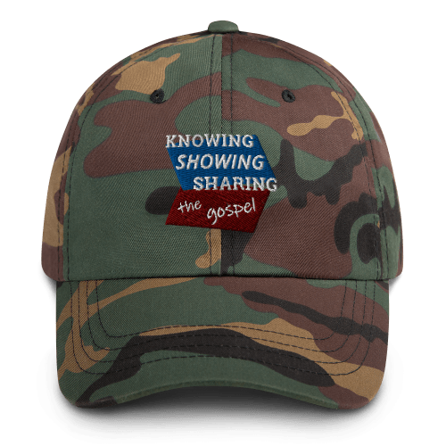 Camo baseball cap with Knowing Showing Sharing the gospel on blue and red background