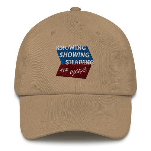 Khaki baseball cap with Knowing Showing Sharing the gospel on blue and red background