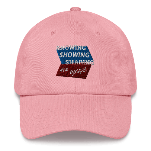Pink baseball cap with Knowing Showing Sharing the gospel on blue and red background