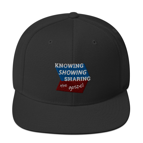 Black snapback hat with Knowing Showing Sharing the gospel on blue and red background