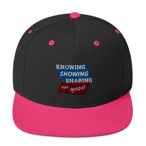 Pink and black snapback hat with Knowing Showing Sharing the gospel on blue and red background