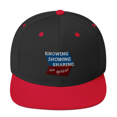 Red and black snapback hat with Knowing Showing Sharing the gospel on blue and red background