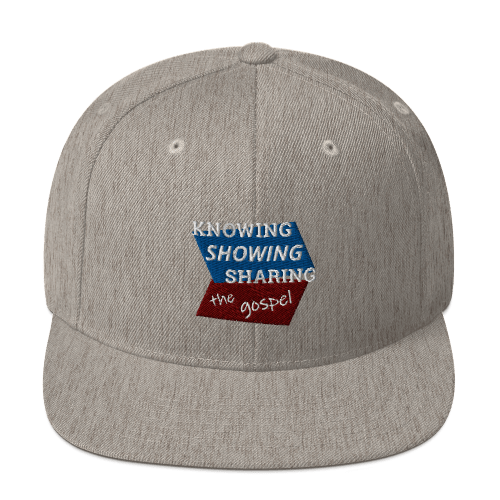 Gray snapback hat with Knowing Showing Sharing the gospel on blue and red background
