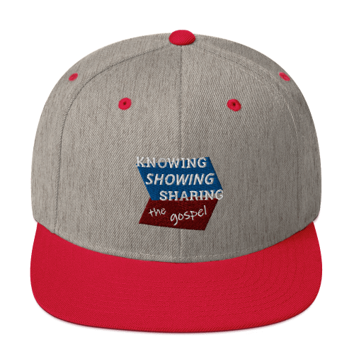 Red and gray snapback hat with Knowing Showing Sharing the gospel on blue and red background