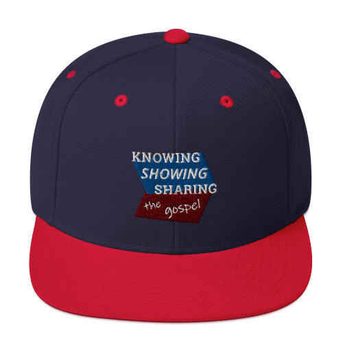 Red and navy blue snapback hat with Knowing Showing Sharing the gospel on blue and red background
