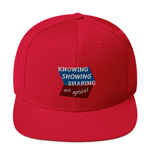Red snapback hat with Knowing Showing Sharing the gospel on blue and red background