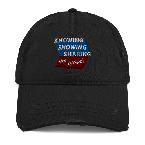 Black distressed baseball cap with Knowing Showing Sharing the gospel on blue and red background
