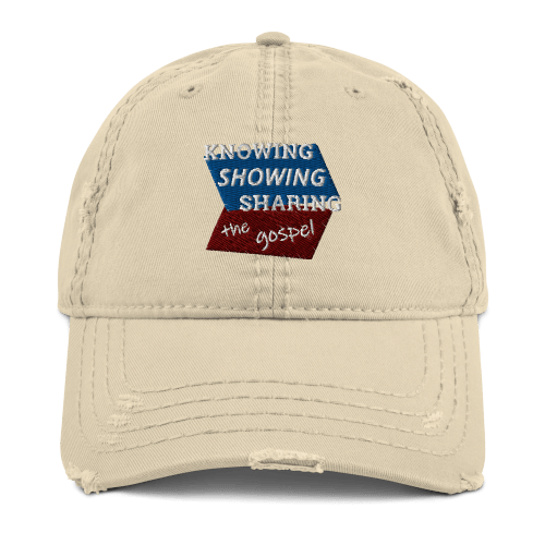 Khaki distressed baseball cap with Knowing Showing Sharing the gospel on blue and red background