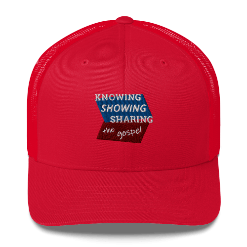 Red trucker cap with Knowing Showing Sharing the gospel on blue and red background