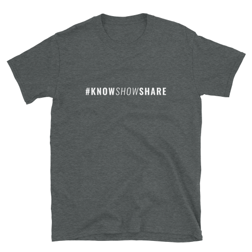 Dark gray short-sleeve t-shirt with hashtag know show share in white