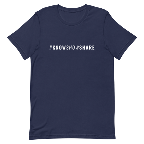 Navy blue short-sleeve t-shirt with hashtag know show share in white