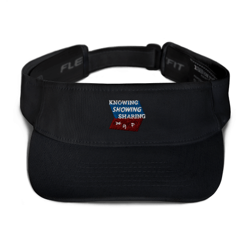 Black sports visor with Knowing Showing Sharing the gospel on blue and red background