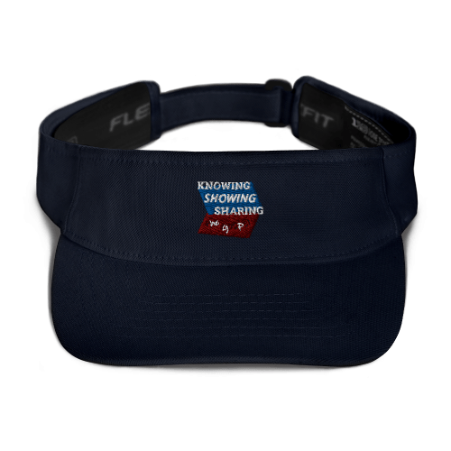 Navy blue sports visor with Knowing Showing Sharing the gospel on blue and red background