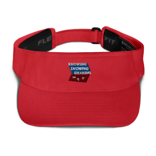Red sports visor with Knowing Showing Sharing the gospel on blue and red background