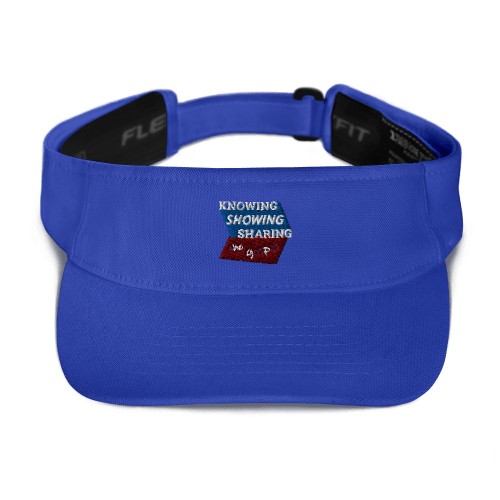 Royal blue sports visor with Knowing Showing Sharing the gospel on blue and red background