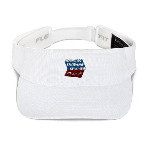 White sports visor with Knowing Showing Sharing the gospel on blue and red background